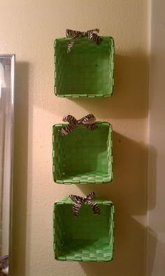 """Also made for the girls' bathroom.  Dollar store baskets with zebra ribbon.  Perfect for all of Ayanna's little """"stuff""""! Www.facebook.com/melamydesigns"""