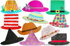 Easy Paper Hat craft-Print, cut out and decorate our top and bottom hat templates to come up with exciting wearable hats. Small craft materials such as buttons and sequins are choking hazards. These are not suitable for children below the age of three. Silly Hats, Crazy Hats, Fun Crafts For Kids, Arts And Crafts, Paper Crafts, Paper Art, Craft Activities, Preschool Crafts, Preschool Curriculum