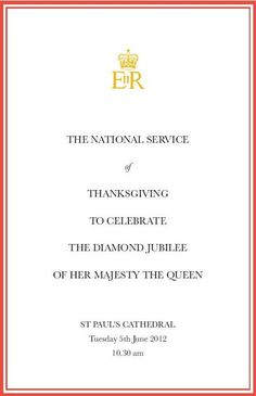 Diamond Jubilee Order of Service - St Paul's Cathedral, London, UK