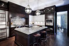 Dark Cabinets W White Ish Granite