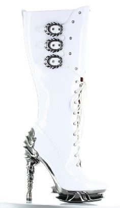 Hades Women's Hyperion Heel Boots White Patent Leather $167.55