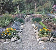 Love the stone edging and gravel paths