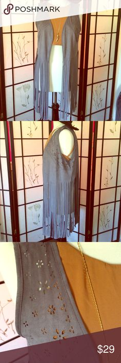 BOHO FAUX SUEDE GREY FRINGE VEST ADORABLE BOHO FAUX SUEDE LONG FRINGED VEST with Cute Cutout Flower Pattern🌻 Lightweight So Great For Summer Fun and Festivals🎡 NWT🌻 Tops