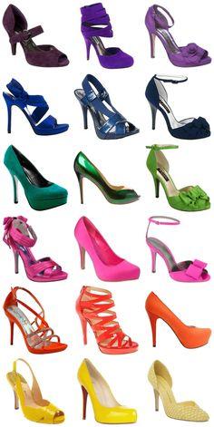 Sapatos coloridos #moda #fashion