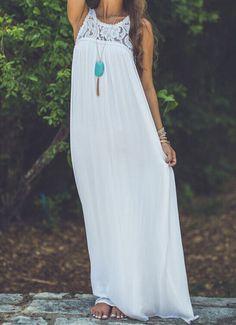 White Sleeveless Lace Chiffon Maxi Dress