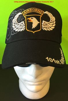 """Has Screaming Eagle logo on the front, """"Airborne"""" on the front brim, shadow of the 101st crest on the right side, and motto """"Rendezvous with Destiny"""" on the back of cap. One size fits all, with adjustable Velcro backstrap, made by Golden Lion. 