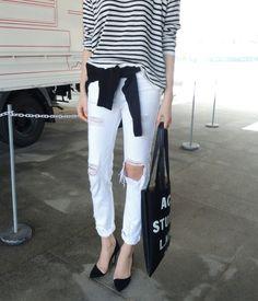 breton shirt + white ripped jeans