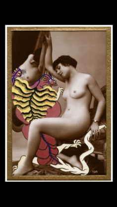 """Georges Hugnet - """" La Granivelle d'Austerlitz """" - No. 30 de la Série """"La Vie Amoureuse des Spumifères"""", 1947/48 - Gouache on Vintage (c. 1920) carte postale - 13,7 x 8,6 cm"""