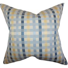 Carbry Plaid Blue Down Filled Throw Pillow | Overstock.com Shopping - Great Deals on PILLOW COLLECTION INC Throw Pillows