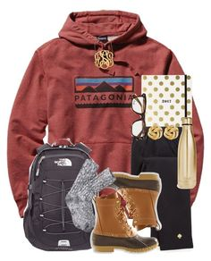 """""""school during the winter vibes"""" by thefashionbyem ❤ liked on Polyvore featuring Patagonia, Kate Spade, The North Face, L.L.Bean, Jennifer Zeuner, Susan Shaw, Ray-Ban and S'well"""
