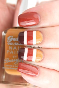Autumnal stripes with Barry M Mustard, Paprika and Cocoa