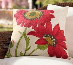 Pottery Barn - Poppy Outdoor Pillow - perfect for a memorial day accent
