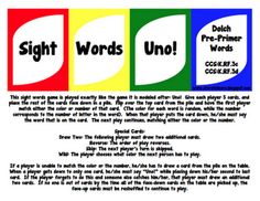 FREE Sight Words Uno - PrePrimer Dolch Words  - Go to http://pinterest.com/TheBestofTPT/ for this and thousands of free lessons.