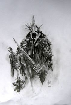 This is a fan art pic from LOTR. Comments and constructive critique are welcome. The Witch King Of Angmar Lord Of Rings, Lord Of The Rings Tattoo, Dark Fantasy, Fantasy Art, Witch King Of Angmar, Lotr Tattoo, O Hobbit, Fantasy Movies, Jrr Tolkien