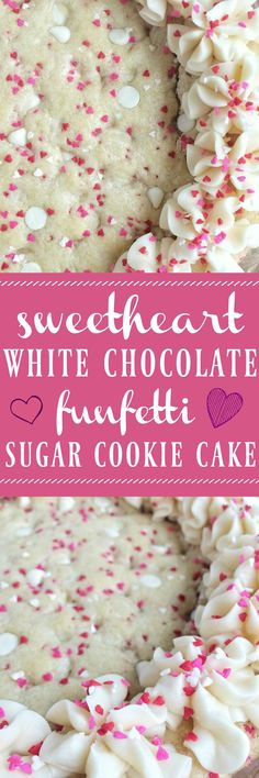 Celebrate Valentine's Day with this ultra soft & delicious funfetti sugar cookie cake that's filled with festive red and pink sp. Valentine Desserts, Valentines Day Food, Valentines Baking, Valentine Cookies, Valentine Box, Almond Frosting, Sugar Cookie Cakes, Low Carb Cheesecake, Unsweetened Chocolate