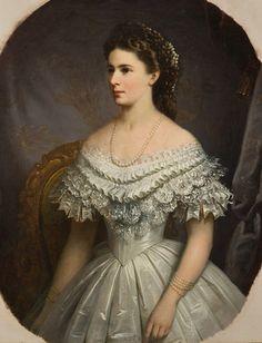Sisi, Empress of Austria wearing dress with elaborate bertha
