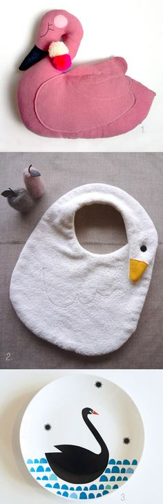 1. swan pillow by Mini Boheme 2. baby bib via Creema 3. black swan plate by Ninainvorm