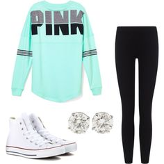 lazy day by baileybishop on Polyvore featuring polyvore, fashion, style, Victoria's Secret PINK, James Perse and Converse