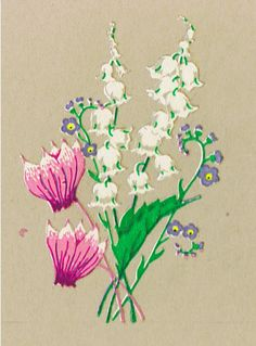 Each decal / transfer measures approximately 7/8in x 1 3/8in (22mm x 35mm) This item is 10 Lily-of-the-Valley with Cyclamen Decals  These decals