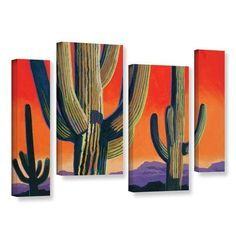 "ArtWall Saguaro Dawn by Rick Kersten 4 Piece Graphic Art on Wrapped Canvas Staggered Set Size: 24"" H x 36"" W x 2"" D"