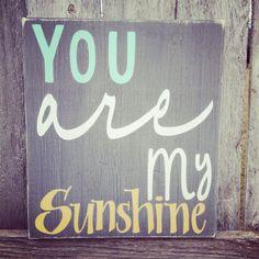 You Are My Sunshine Nursery Sign Grey Mustard by PaintedBrush, $36.95