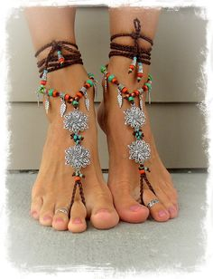 BOHEMIAN BAREFOOT WEDDING barefoot sandals Toe Anklets crochet Gypsy sole less Sandal bare feet flowers Foot jewelry Festival jewelry GPyoga