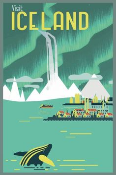 Vintage Graphic Design ICELAND : Vintage Travel and Tourism Advertising Print Poster - Poster. Additional sizes are available. A Fine Art High Definition Vintage Visit Iceland Travel and Tourism Advertising Poster Print A4 Poster, Poster Prints, Poster City, Poster Wall, Art Prints, Vintage Travel Posters, Vintage Postcards, Vintage Airline, Photo Vintage
