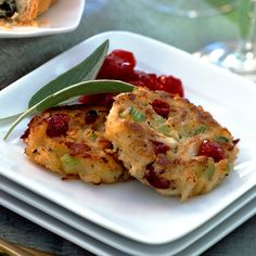 The classic flavors of holiday stuffing, including sage, corn bread and cranberries complement these miniature crab cakes, which are a perfect warm-up to a holiday feast or party.