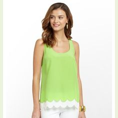 NWT Lilly Pulitzer Carlina top in New Green NWT Lilly Pulitzer size large Carlina silk top in New Green (gorgeous lime-like green). 100% silk. Dry clean only. Perfect for spring and summer! Pair with some white jeans and wedges and you are set! Lilly Pulitzer Tops