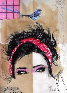 "Saatchi Art Artist Loui Jover; Drawing, ""pinky blue"" #art"