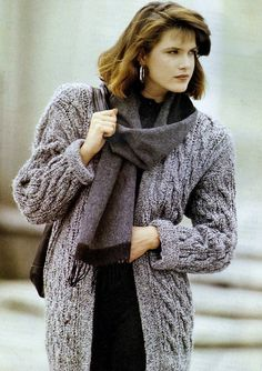 Instant PDF Download Vintage Row by Row Knitting Pattern to make a Ladies Long Loose Fitting Aran Style Cable Cardigan or Jacket Bust 34-38""