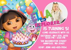 Dora the Explorer Birthday Party Invitation -Digital Printable File
