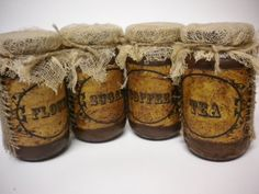 Grubby Pantry Jars Primitive Pioneer Colonial Decor by Pearce's Craft Shop $19.95 plus shipping