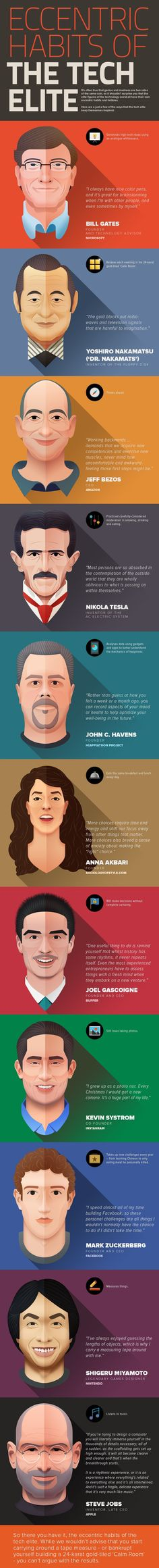 Infographic: The Eccentric Habits Of Steve Jobs, Mark Zuckerberg And More