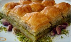 Baklava is a delicious food from Morocco. Learn to cook Baklava and enjoy traditional food recipes from Morocco. Greek Desserts, Köstliche Desserts, Delicious Desserts, Yummy Food, Ramadan Desserts, Lebanese Recipes, Turkish Recipes, Greek Recipes, Greek Baklava