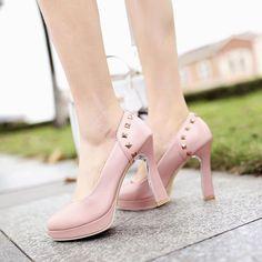 Women's Pure Color High Heel Thick Heel Rivet Pumps