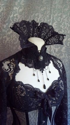 Dramatic Victorian Steampunk Gothic black High neck corset/ corset collar by…