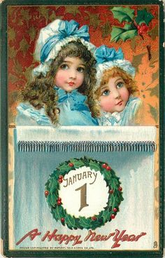F.Brundage (unsigned) two girls in blue above JANUARY 1 in wreath