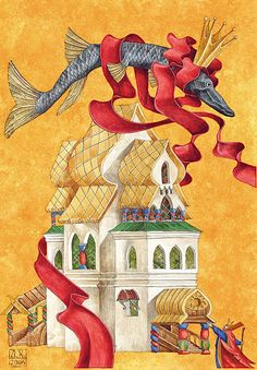 "Лев Каплан - иллюстрация к сказке ""По щучьему велению"" Children's Book Illustration, Illustrations, Childrens Books, Fairytale, Medieval, Painting, Art, Children's Books, Fairy Tail"