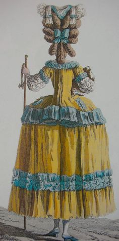 """Antique French fashion plate, """"Galerie des Modes"""", Oh . Rococo Fashion, French Fashion, Victorian Fashion, Vintage Fashion, 18th Century Clothing, 18th Century Fashion, Historical Costume, Historical Clothing, Marie Antoinette"""