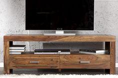Massives Design TV-Board MAKASSAR Sheesham 135cm Schubladen Tisch