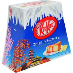 Nestle has outdone themselves with the flavor for this limited edition Japanese Kit-Kat. Strawberry shortcake  flavored cream wraps a crunchy Kit-Kat wafer. The large box is shaped just like Mount Fuji and features many Japanese landmarks on the package. Each pack contains 9 individual mini Kit-Kat bars. - See more at: http://oyatsucafe.com/japanese-kit-kat-strawberry-cheesecake#sthash.3YyMnnMv.dpuf