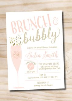 Brunch and Bubbly Bridal Shower Invitation, Confetti Glitter Bridal Shower Invitation - Digital or Printed Invitation Please note the glitter is a faux glitter and does not include real glitter.  >>> WHATS INCLUDED <<< Your purchase includes either; -Digital only design that you can print on your own or send as an Evite! OR -One of our printed options, price varies based on quantity selected. Please note our printing prices include single sided printing and standard 7 busine...