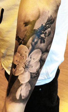 Tattoo Artist - Augis Tattoo - flowers tattoo I want this as an upper arm sleeve. #carneylife