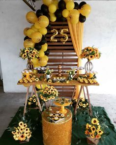 70 lovely ideas on how to make yours - Birthday FM : Home of Birtday Inspirations, Wishes, DIY, Music & Ideas Sunflower Party Themes, Sunflower Birthday Parties, Sunflower Wedding Decorations, Sweet 16 Decorations, Girl Baby Shower Decorations, Diy Birthday Decorations, Adult Birthday Party, 25th Birthday, Balloon Decorations