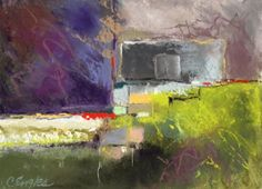 Portland Winterscape Two, abstract pastel painting by Carol Engles -- Carol Engles