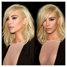 Kim Kardashian West Celebrity Hair Hairstyle Platinum Blonde Short Side Part Shoulder Length Fabulous Stylish Sexy Flawless Makeup Cauasian Women