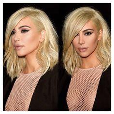 Kim Kardashian West Celebrity Hair Hairstyle Platinum Blonde Short Side Part Shoulder Length Fabulous Stylish Sexy Flawless Makeup Cauasian Women