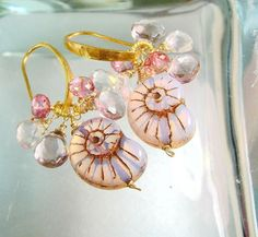 Nautilus+Shell+Jewelry+PInk+Stone+Earrings+by+LovelyLuxeJewels,+$79.00