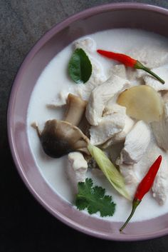 thai coconut chicken soup - the easier way. For more down-home, cut up a whole chicken and simmer with bones and skin.